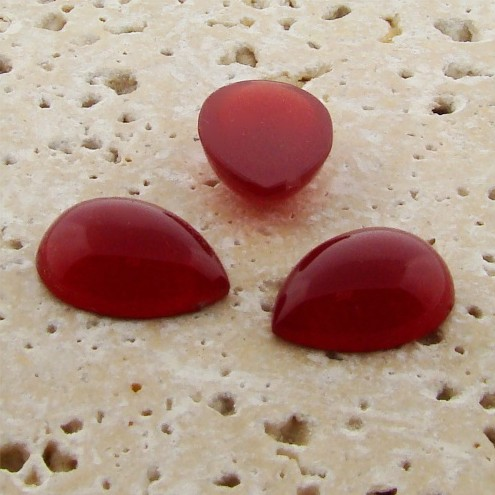 Cornelian Opaque - 25x18mm. Pear Domed Cabochons - Lots of 72