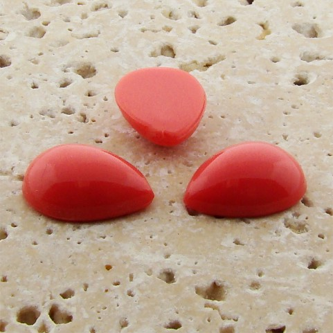 Coral Opaque - 25x18mm. Pear Domed Cabochons - Lots of 72