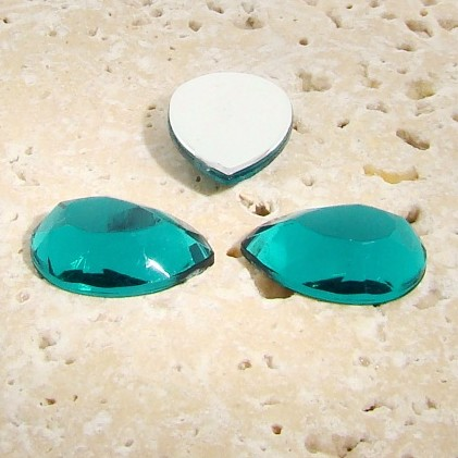 Teal Jewel Faceted - 25x18mm. Pear Domed Cabochons - Lots of 72