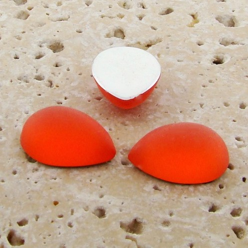 Orange Matte Frosted - 18x13mm. Pear Cabochons - Lots of 144