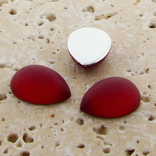 Ruby Matte Frosted - 18x13mm. Pear Domed Cabochons - Lots of 144