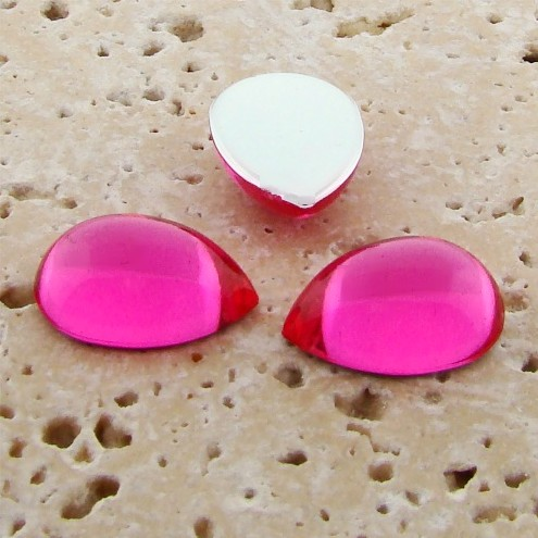 Pink Jewel - 25x18mm. Pear Domed Cabochons - Lots of 72