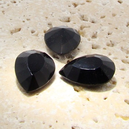 Jet Opaque - 18x13mm. Pear Faceted Gem Jewels - Lots of 144