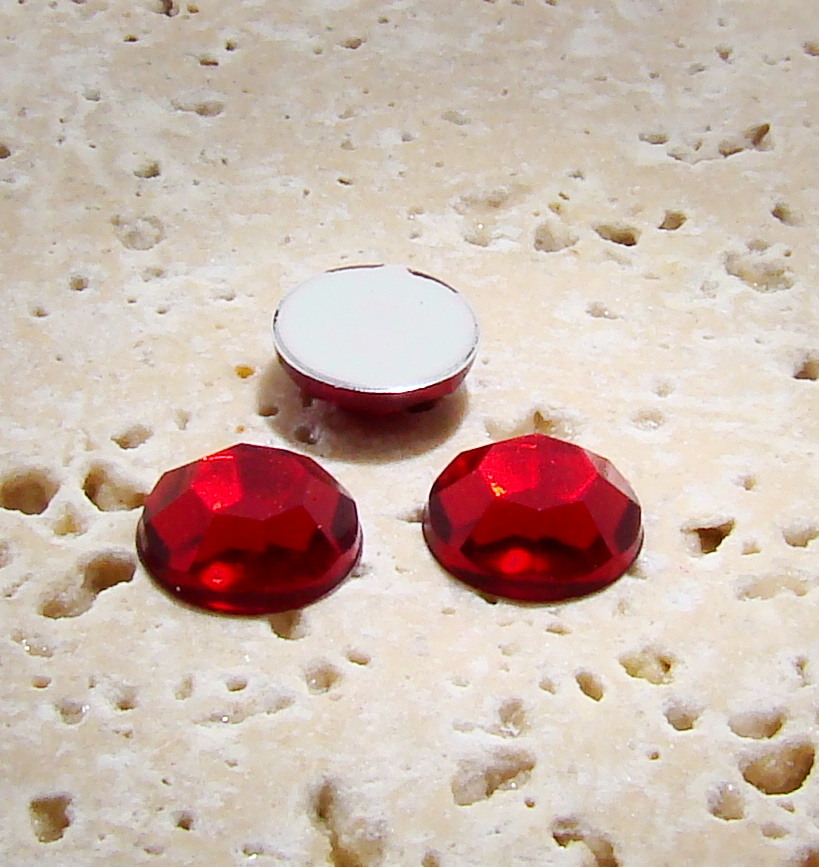 Ruby Jewel Faceted - 6mm. Round Cabochons - Lots of 144
