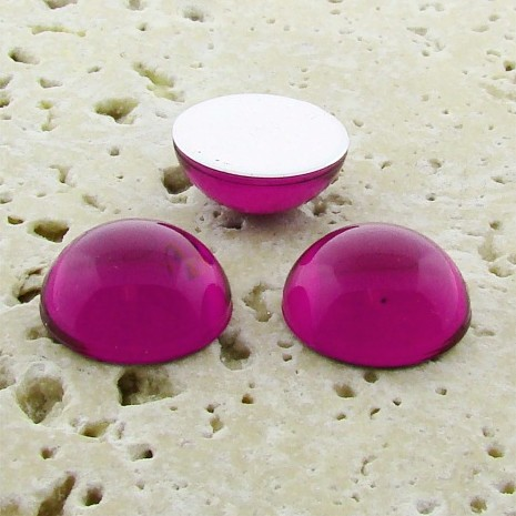 Fuchsia Jewel - 18mm. Round Domed Cabochons - Lots of 144