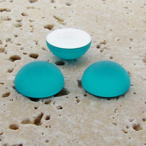 Aqua Matte Frosted - 15mm. Round Domed Cabochons - Lots of 144