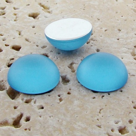Light Sapphire Matte - 15mm. Round Domed Cabochons - Lots of 144