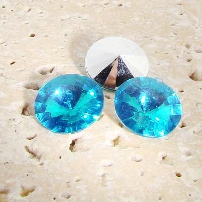 Aqua Jewel - 12mm. Round Rivoli Rhinestone Jewels - Lots of 144