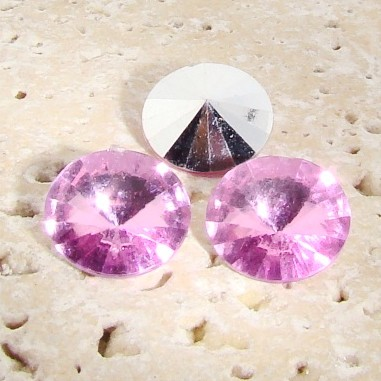 Rose Jewel - 18mm. Round Rivoli Rhinestone Jewels - Lots of 144