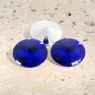 Sapphire - 16mm. Round Rivoli Rhinestone Jewels - Lots of 144