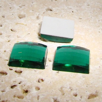 Emerald Jewel Faceted - 25mm. Square Cabochons - Lots of 72
