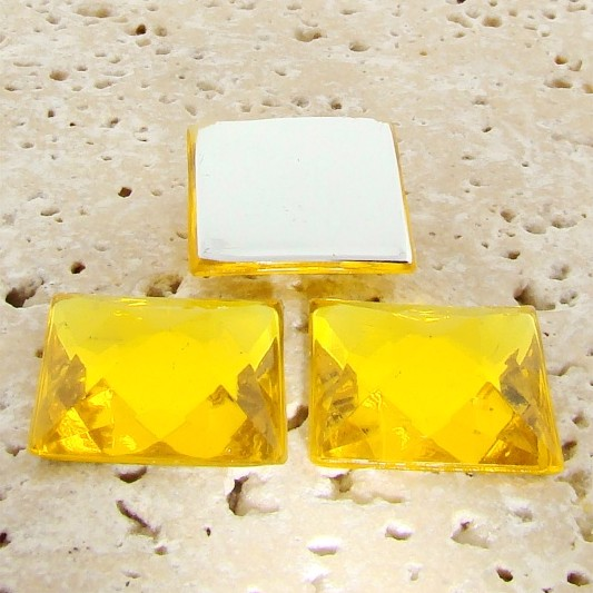 Jonquil Jewel Faceted - 20mm. Square Cabochons - Lots of 144