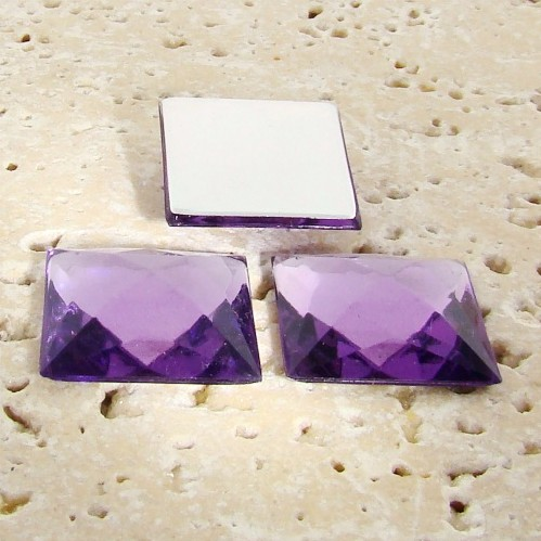 Light Amethyst Jewel Facet -20mm Square Cabochons - Lots of 144