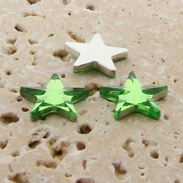Peridot Jewel Faceted - 15mm. Star Domed Cabochons - Lots of 144