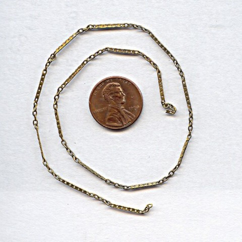 FLAT BAR BRASS BEADING 1MM. VINTAGE CHAIN - PRICED PER FOOT