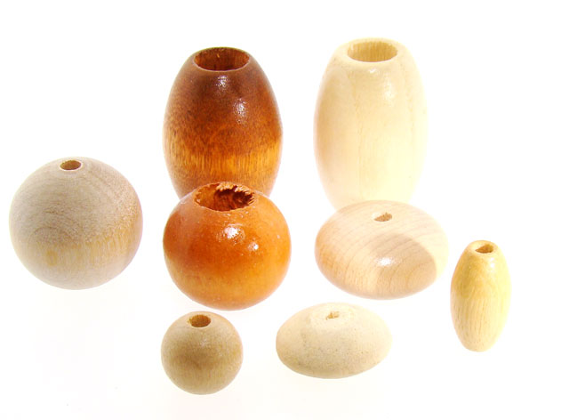 1/2 POUND - 135 ASSORTED SIZE & SHAPED GENUINE WOOD BEADS