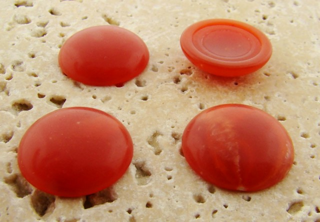 18mm. CORNELIAN MATTE MARBLE ROUND CABOCHONS - Lot of 48