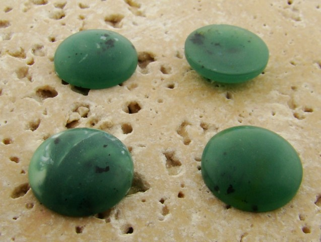 15mm. GREEN MATTE MARBLE ROUND CABOCHONS - Lot of 48