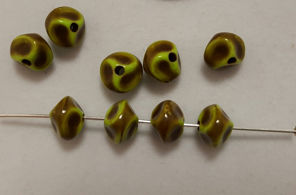 GREEN BROWN 6x7mm. BAROQUE NUGGET BEADS - Lots of 12