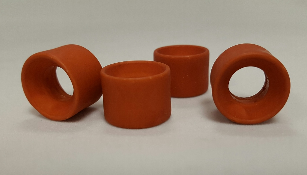 BURNT ORANGE MATTE 23X16MM LARGE HOLE DONUT BEADS - Lot of 12