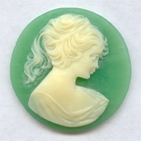 GREEN 30MM ROUND LADY HEAD CARVED CAMEOS - Lot of 12