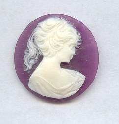 PURPLE 30MM ROUND LADY HEAD CARVED CAMEOS - Lot of 12