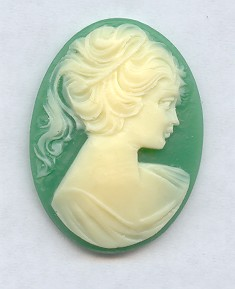 GREEN 40X30MM OVAL LADY HEAD CARVED CAMEOS - Lot of 12
