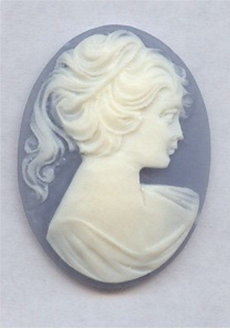 BLUE 40X30MM OVAL LADY HEAD CARVED CAMEOS - Lot of 12