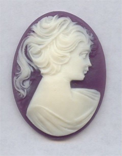 PURPLE 40X30MM OVAL LADY HEAD CARVED CAMEOS - Lot of 12