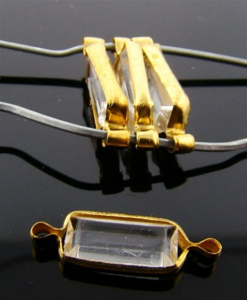 CRYSTAL 14X5MM OCTAGON 2-LOOP BRASS CHANNELS - Lot of 144
