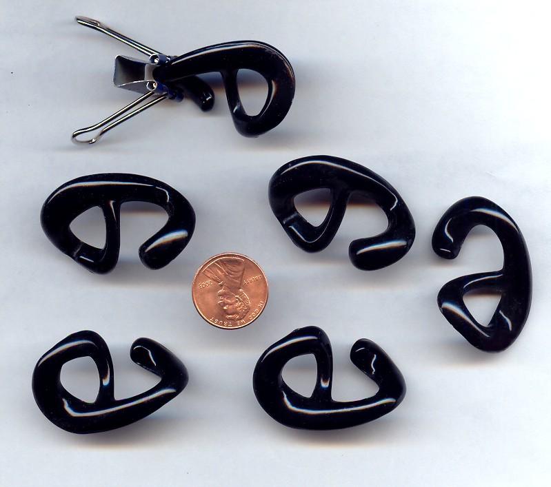 Jet Black - 26mm. Oval Plastic Hooks - Sold in Lots of 12
