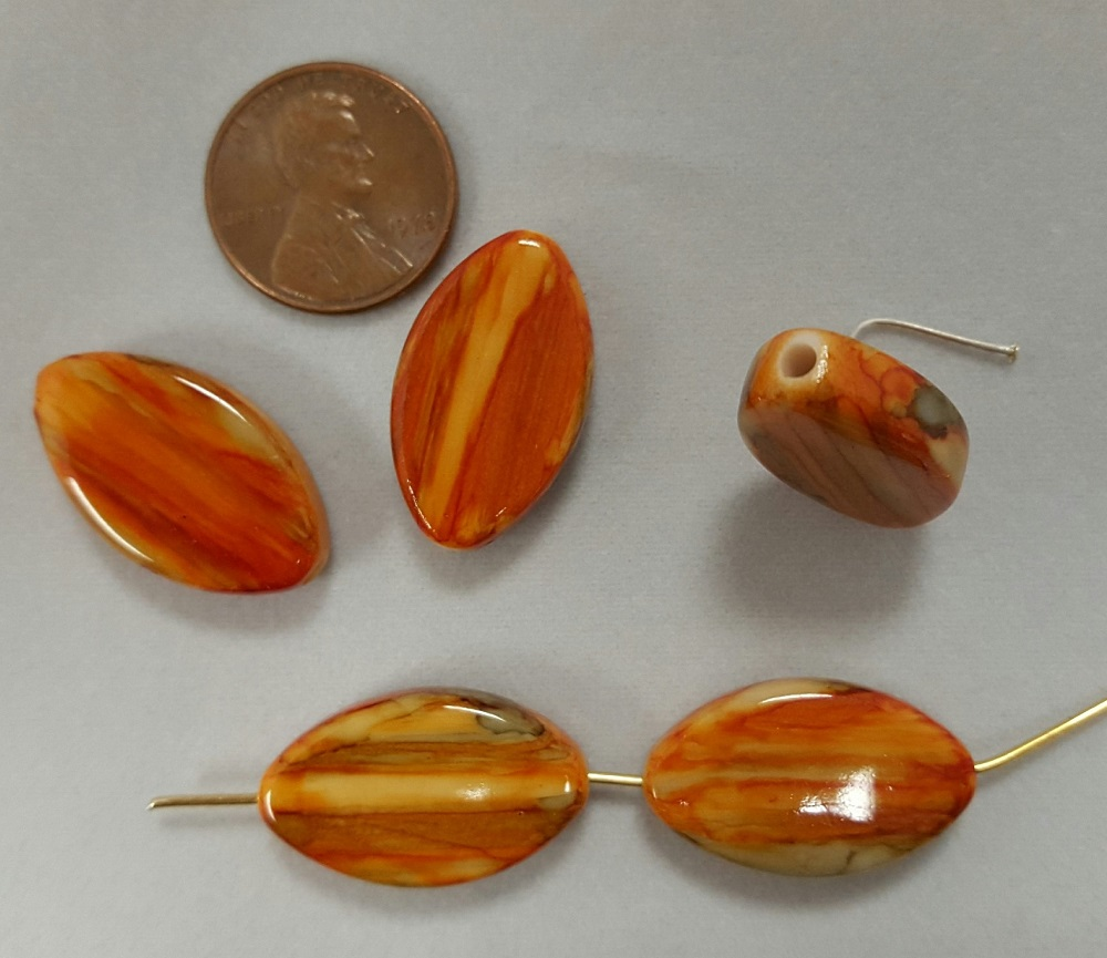 ORANGE MARBLED 24x14mm. FLAT OVAL BEADS - Lot of 12